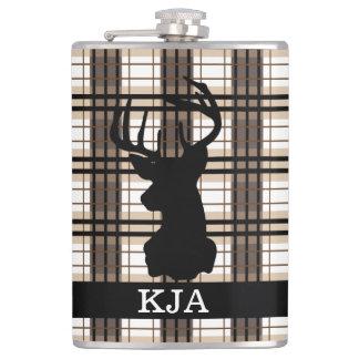 Plaid Deer Silhouette Flask