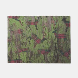 Plaid Green Deer Rustic Door Mat