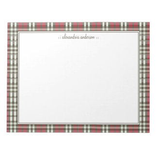 Plaid Pattern Custom Notepad (chocolate/red)