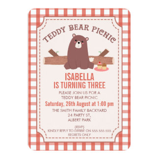 Plaid Teddy Bear Picnic Birthday Invitation