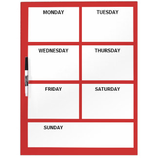 Plain Basic Simple Red White Days of the Week Dry-Erase Whiteboard
