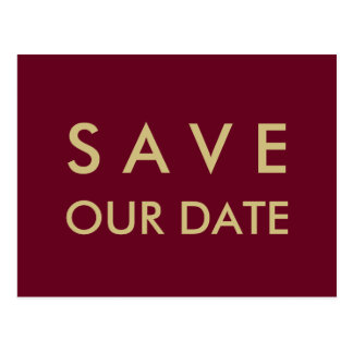 Plain Burgundy & Gold Save the Date Postcard