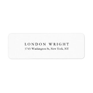 Plain Elegant Classical Trendy Black White Return Address Label