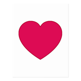 Plain Outlined Cherry Red Heart Postcard