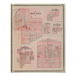 Plan of Green Castle, Putnam Co with Bloomington Poster