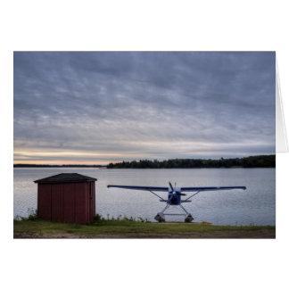 Plane at sunset card