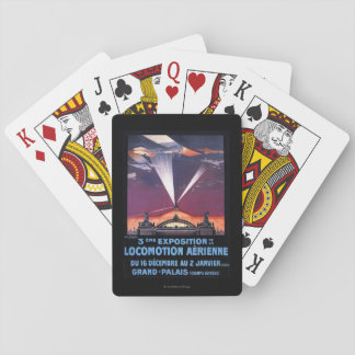 Plane Flying Over Searchlight Poster Playing Cards