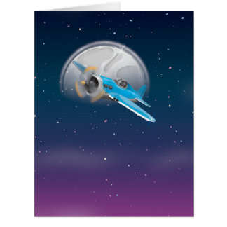 Plane Infront of the Moon Card