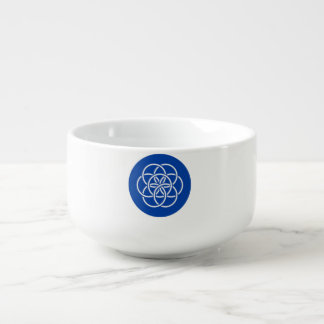 Planet earth flag soup bowl with handle
