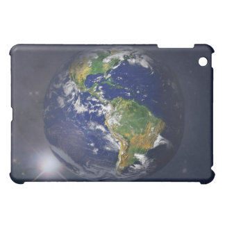Planet earth rising above the sun in space iPad mini cover