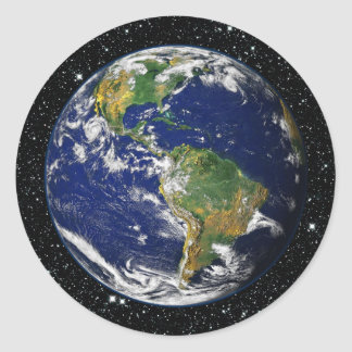 PLANET EARTH star background (solar system) ~ Classic Round Sticker