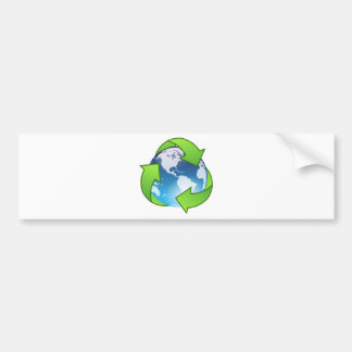Planet Earth Surrounded by Green Recycling Symbol Bumper Sticker