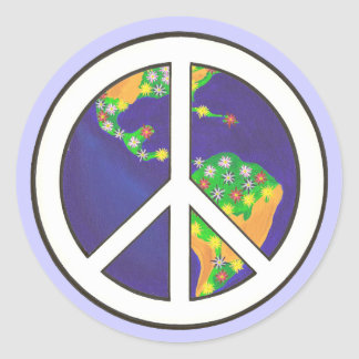Planet Earth World Peace Sign stickers