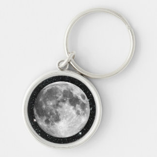 PLANET EARTH'S MOON star background (solar system) Silver-Colored Round Key Ring