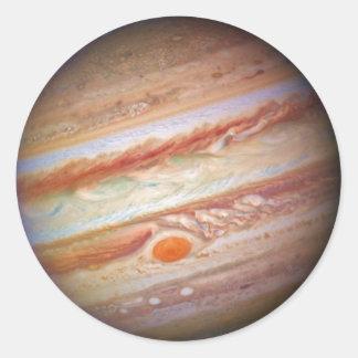 PLANET JUPITER - red spot head on (solar system) ~ Round Sticker