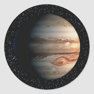 PLANET JUPITER star background (solar system) ~ Classic Round Sticker