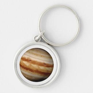PLANET JUPITER v.4 (solar system) ~ Silver-Colored Round Key Ring