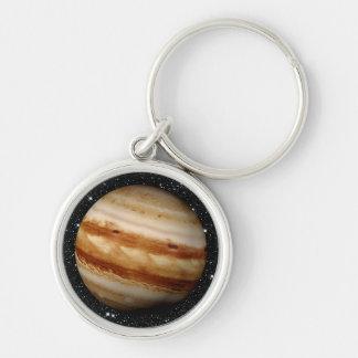 PLANET JUPITER v.4 star background (solar system) Silver-Colored Round Key Ring