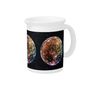PLANET JUPITER'S MOON: CALLISTO (Star Background) Beverage Pitcher