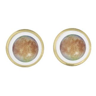 PLANET JUPITER'S MOON EUROPA (solar system) ~ Gold Finish Cufflinks