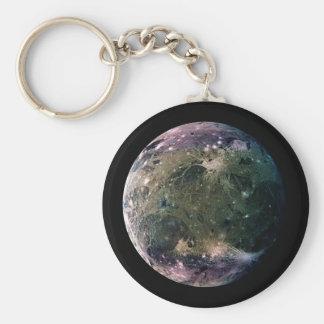 PLANET JUPITER'S MOON GANYMEDE (solar system) ~ Basic Round Button Key Ring