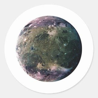 PLANET JUPITER'S MOON GANYMEDE (solar system) ~~ Round Sticker
