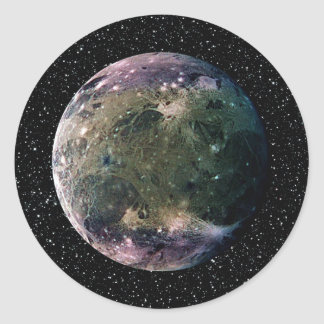 PLANET JUPITER'S MOON GANYMEDE star background ~ Round Sticker