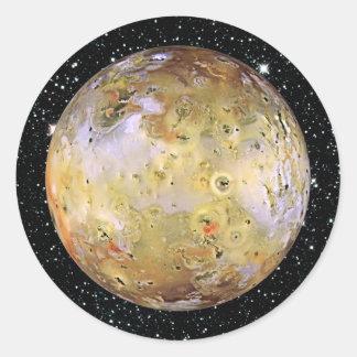 PLANET JUPITER'S MOON IO star background Classic Round Sticker
