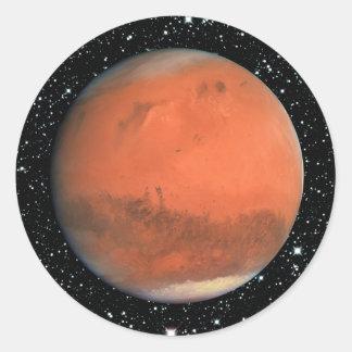 PLANET MARS true color star background ~ Round Sticker
