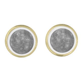 PLANET MERCURY (solar system) ~~ Gold Finish Cufflinks
