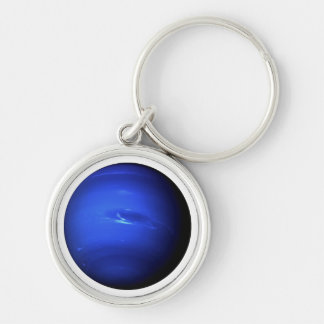 PLANET NEPTUNE (solar system) ~~ Silver-Colored Round Key Ring