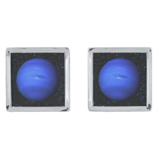 PLANET NEPTUNE with Star Background (solar system) Silver Finish Cuff Links