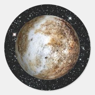 PLANET PLUTO v.2  star background (solar system) ~ Classic Round Sticker