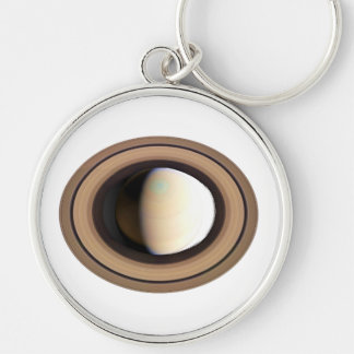PLANET SATURN (solar system) ~ Silver-Colored Round Key Ring