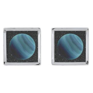 PLANET URANUS star background (solar system) ~~ Silver Finish Cuff Links