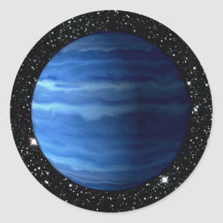PLANET URANUS v.2 star background (solar system) ~ Round Sticker
