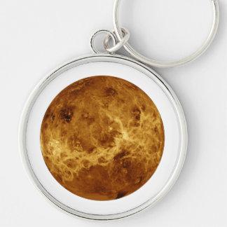 PLANET VENUS radar view (solar system) ~~~ Silver-Colored Round Key Ring