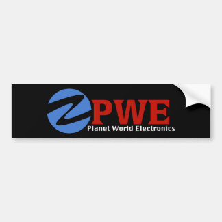 Planet World Electronics Black Bumper Sticker