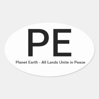 PlanetEarth-AllLandsUniteinPeace Oval Sticker