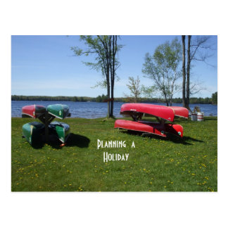Planning a Holiday  Canoes on Beach Postcard