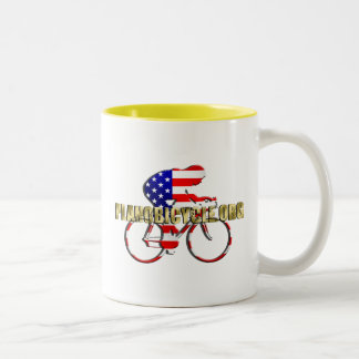 Plano Bicycle American Patriot Cycling Logo Coffee Mugs