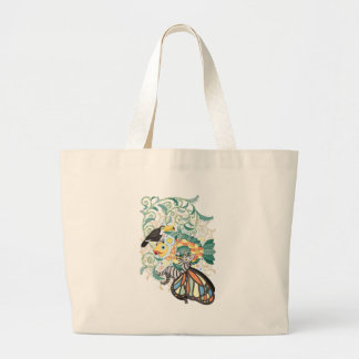 Plant fish and Butterfly cat and Toco toucan Large Tote Bag