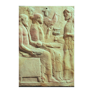 Plaque depicting an offering, c.450 BC Canvas Print