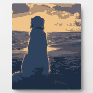 Plaque of A Dog looking at sunset