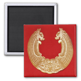 Plaque with two dragons and a Tao-tie mask Fridge Magnets