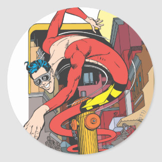 Plastic Man Shape-Shifts in the City Classic Round Sticker