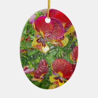 Plastic Pansies Ceramic Oval Decoration