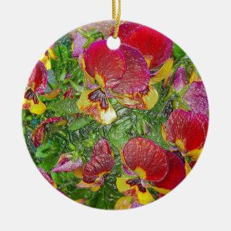 Plastic Pansies Round Ceramic Decoration