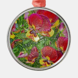 Plastic Pansies Silver-Colored Round Decoration