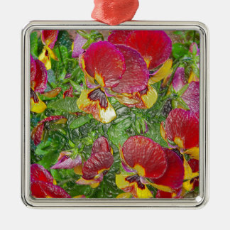 Plastic Pansies Silver-Colored Square Decoration